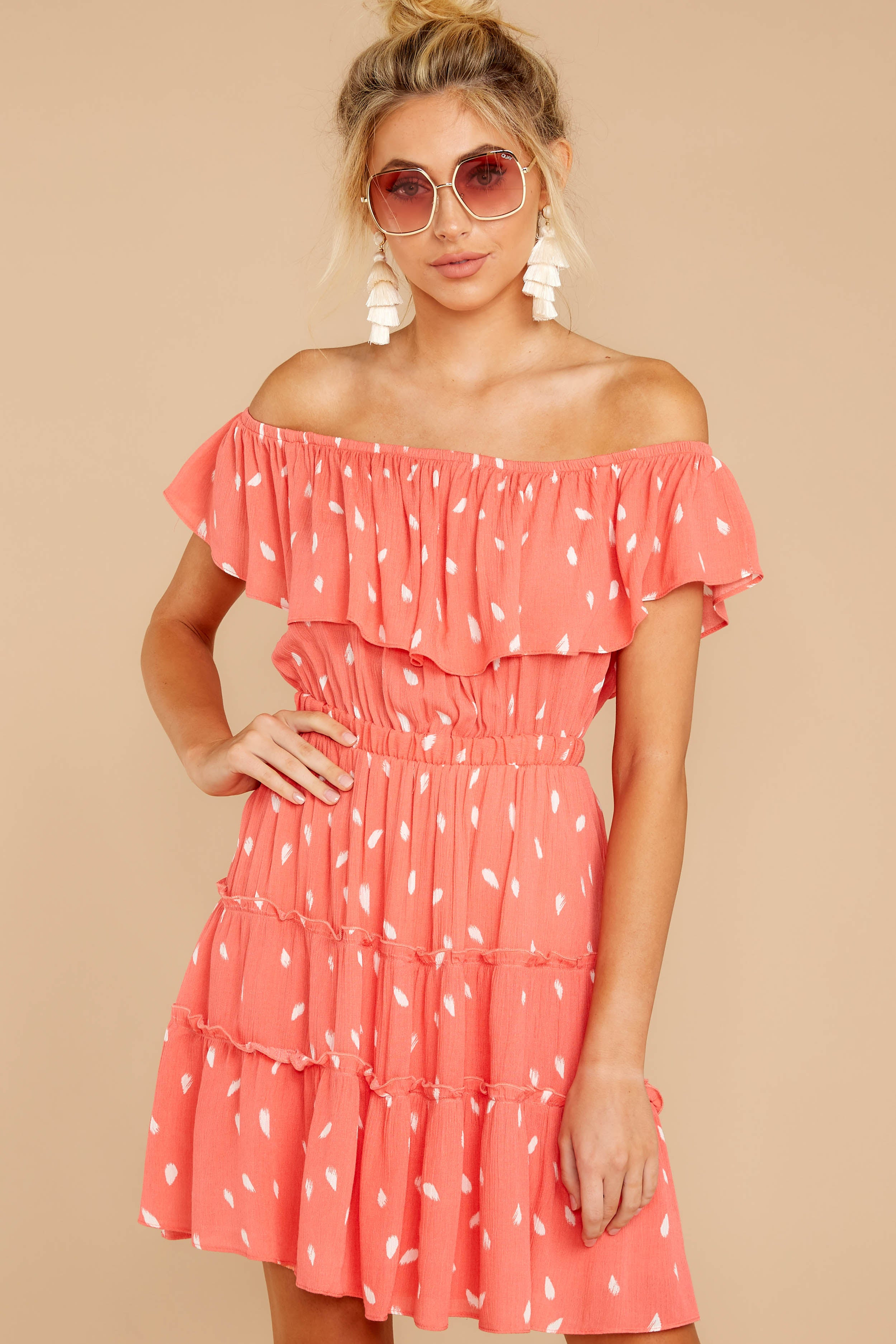 6 Welcome To Happy Coral Print Dress at reddressboutique.com