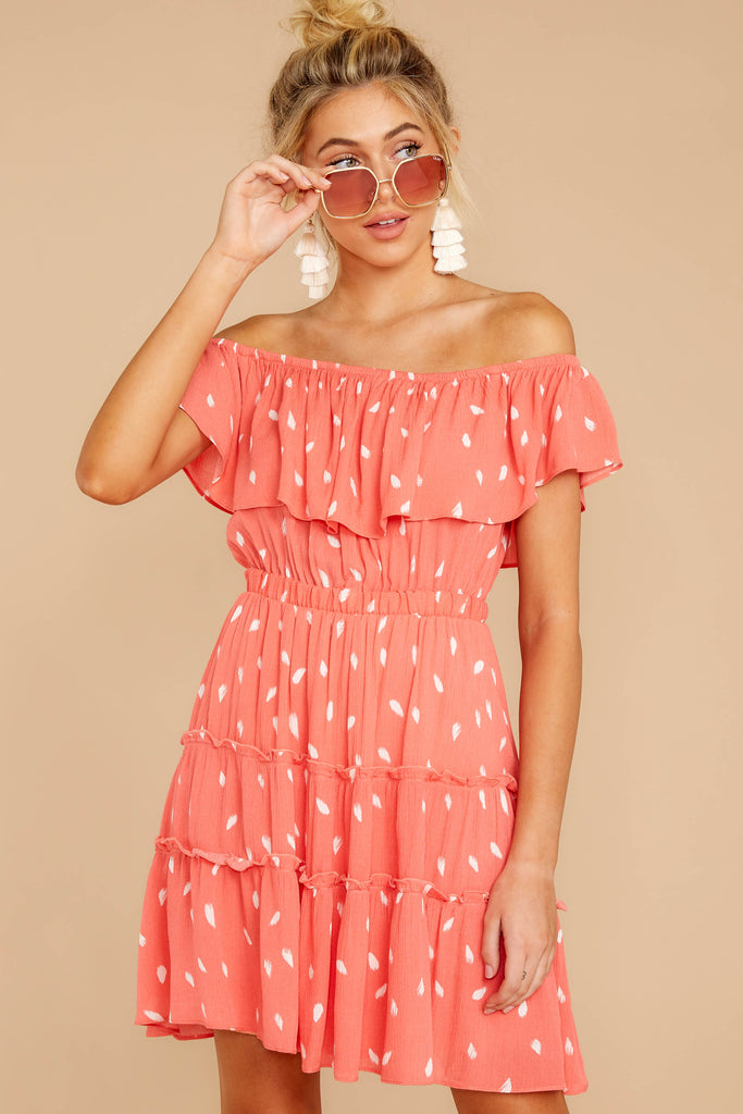 1 Fly Me Home Rose Coral Eyelet Dress at reddressboutique.com