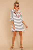 V-neck Cotton Frill Trim Striped Print Summer Embroidered Vintage Shift Dress With Ruffles