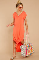 V-neck Dolman Short Sleeves Sleeves High-Low-Hem Maxi Dress