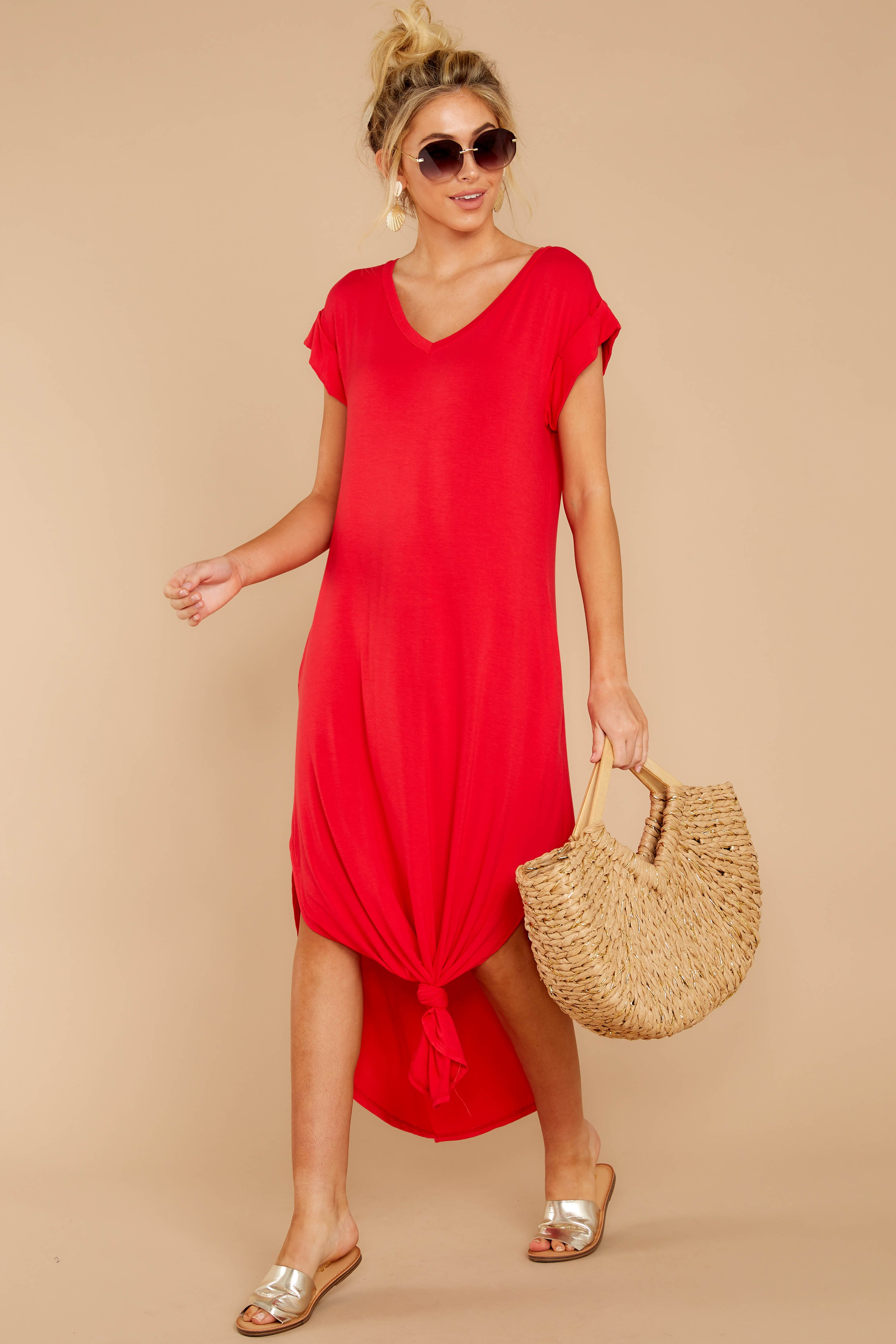 3 Define Comfort Red Maxi Dress at reddressboutique.com