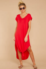 4 Define Comfort Red Maxi Dress at reddressboutique.com