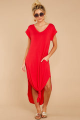 5 Define Comfort Red Maxi Dress at reddressboutique.com