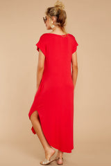7 Define Comfort Red Maxi Dress at reddressboutique.com