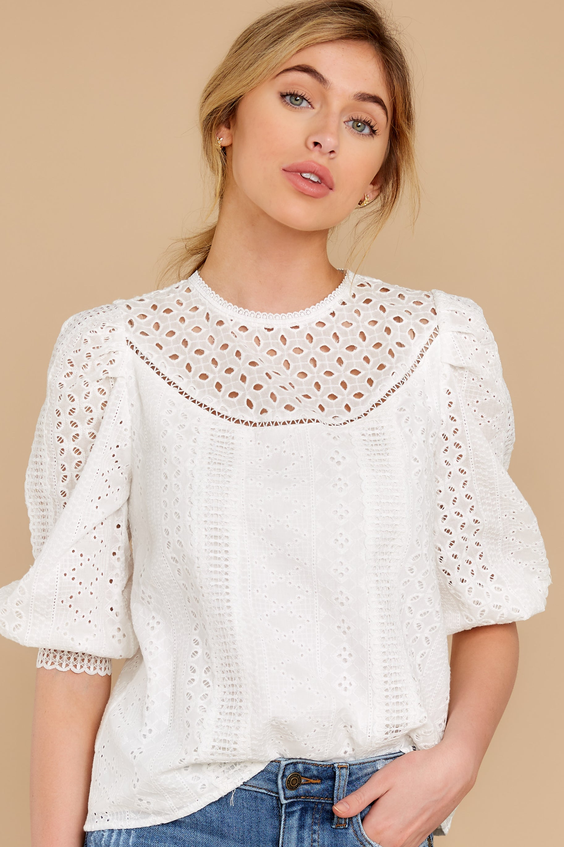 Women's 70s Shirts, Blouses, Hippie Tops Found The Light White Lace Top $52.00 AT vintagedancer.com