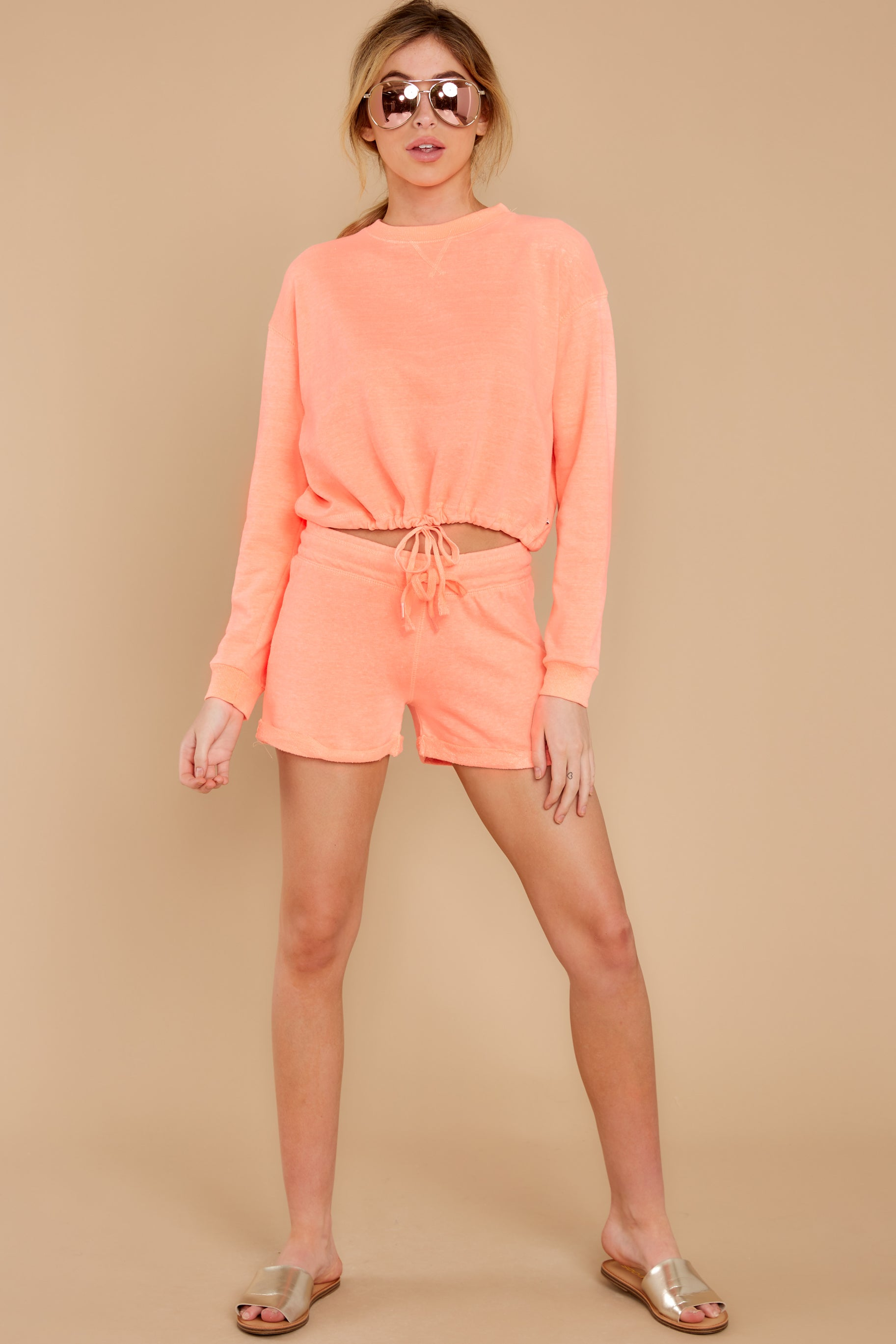 70s Workout Clothes | 80s Tracksuits, Running Shorts, Leotards Cozy As Can Be Coral Orange Sweatshirt $26.00 AT vintagedancer.com