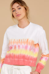Keep The Vibe Orange Multi Tie Dye Crop Sweatshirt