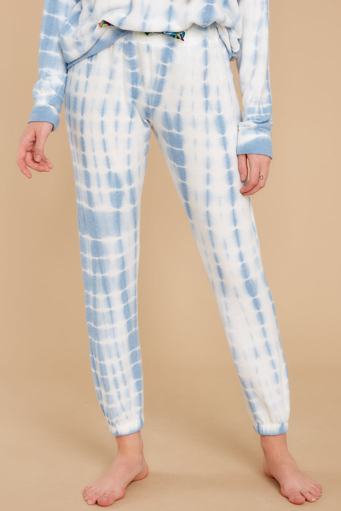1 Morning Light Sky Blue Snake Tie Dye Joggers at reddress.com