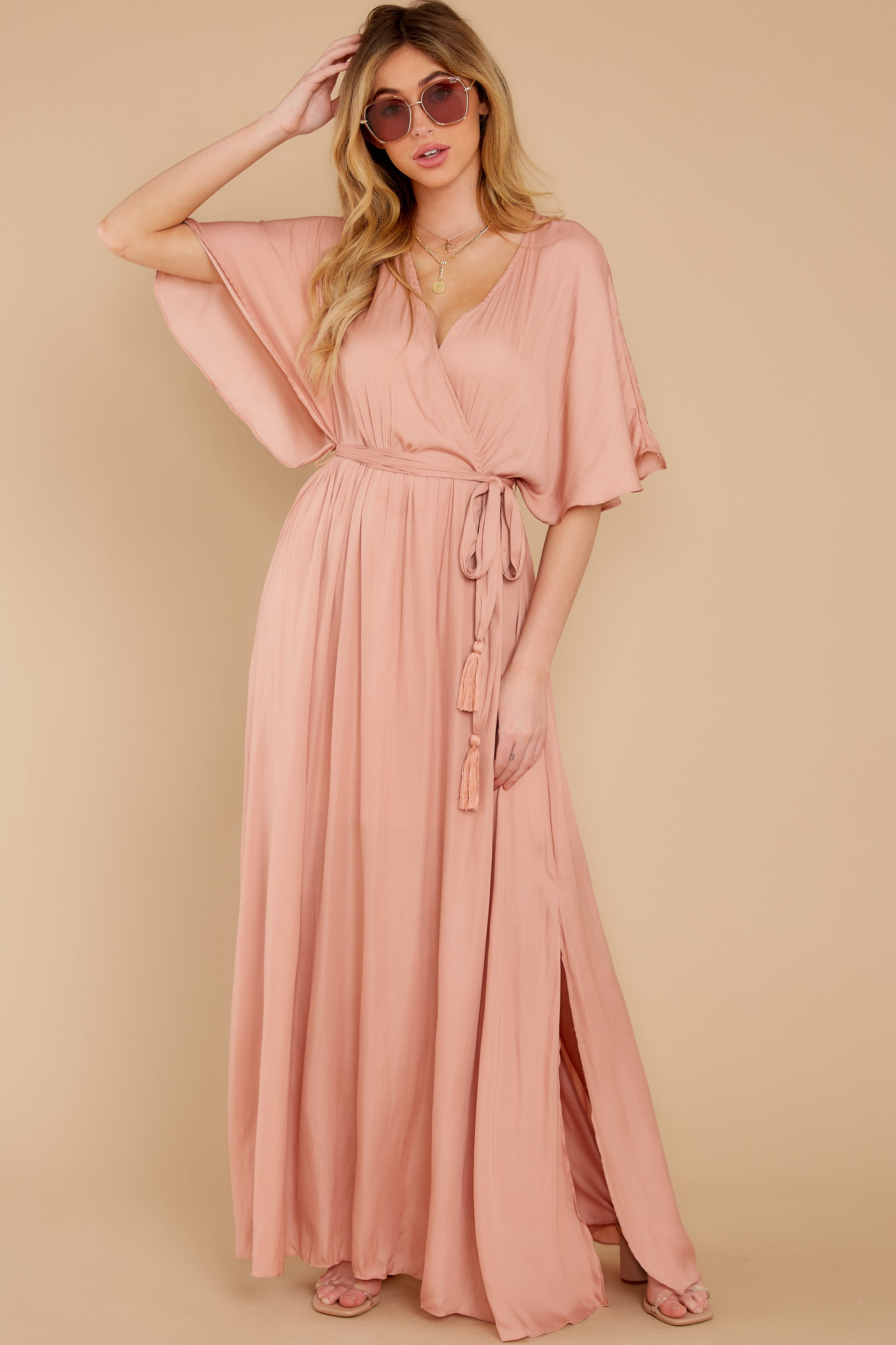 3 Cross My Heart Pink Maxi Dress at reddress.com