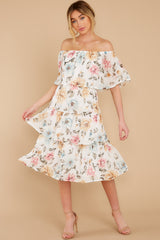 3 In My Dreams Ivory Floral Print Midi Dress at reddress.com