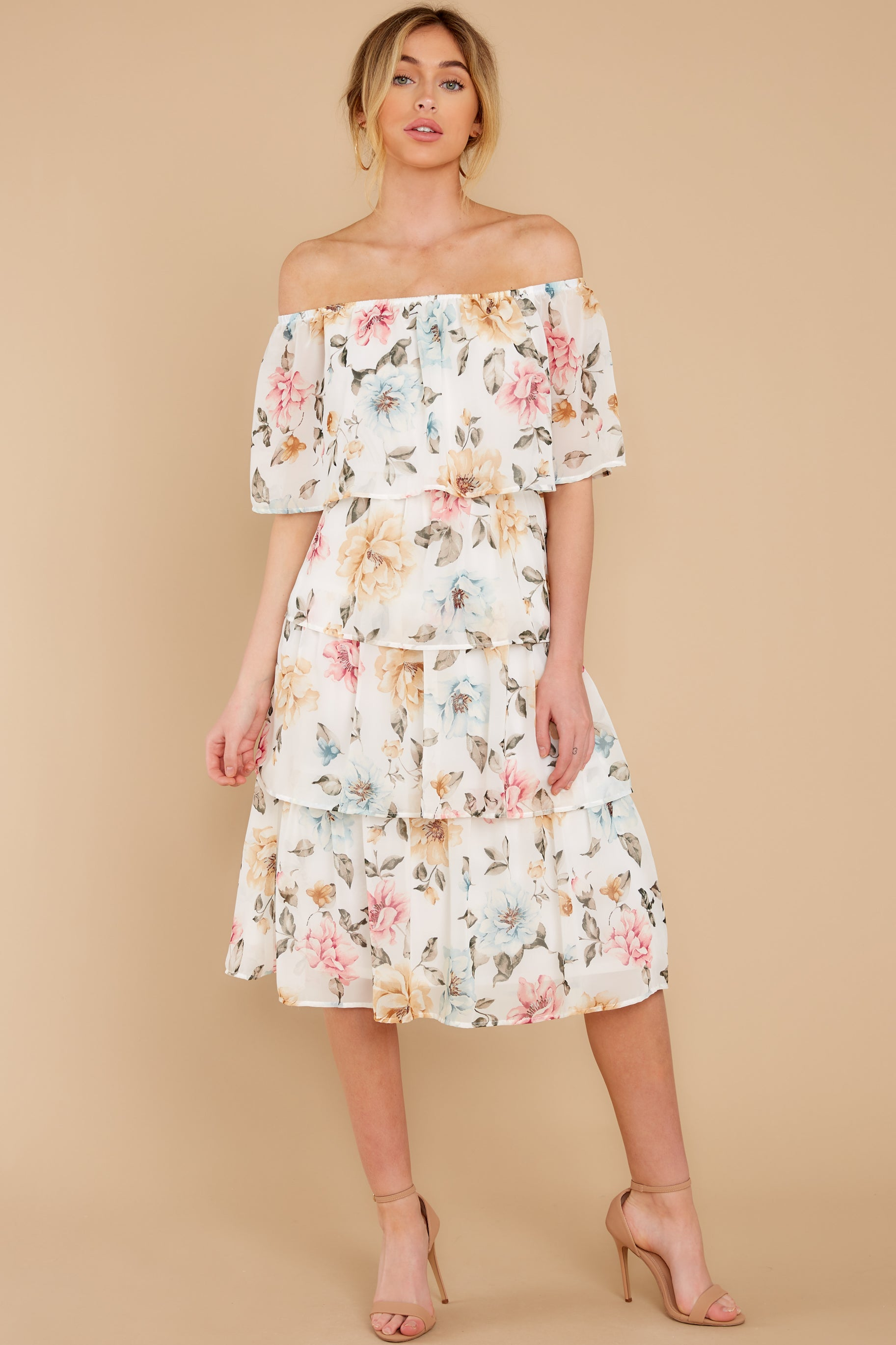 5 In My Dreams Ivory Floral Print Midi Dress at reddress.com