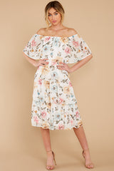 6 In My Dreams Ivory Floral Print Midi Dress at reddress.com