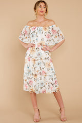 7 In My Dreams Ivory Floral Print Midi Dress at reddress.com