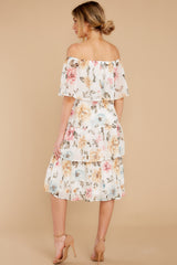 8 In My Dreams Ivory Floral Print Midi Dress at reddress.com
