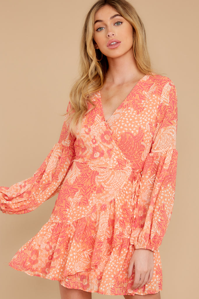 1 Romantic Dalliance Pink Floral Print Dress at reddress.com