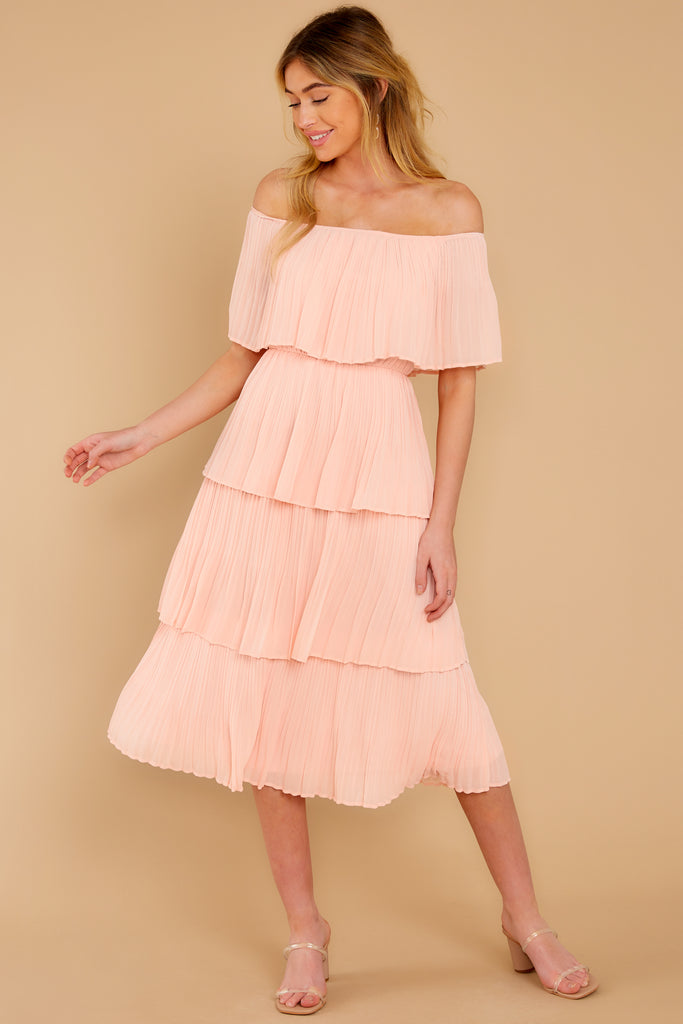 Whereabouts Unknown Shell Pink Midi Dress