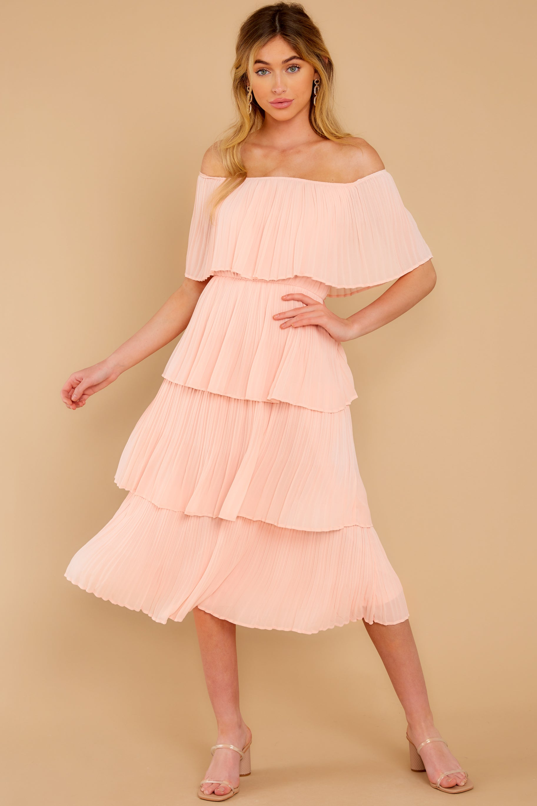 2 See It Happen Blush Pink Midi Dress at reddress.com