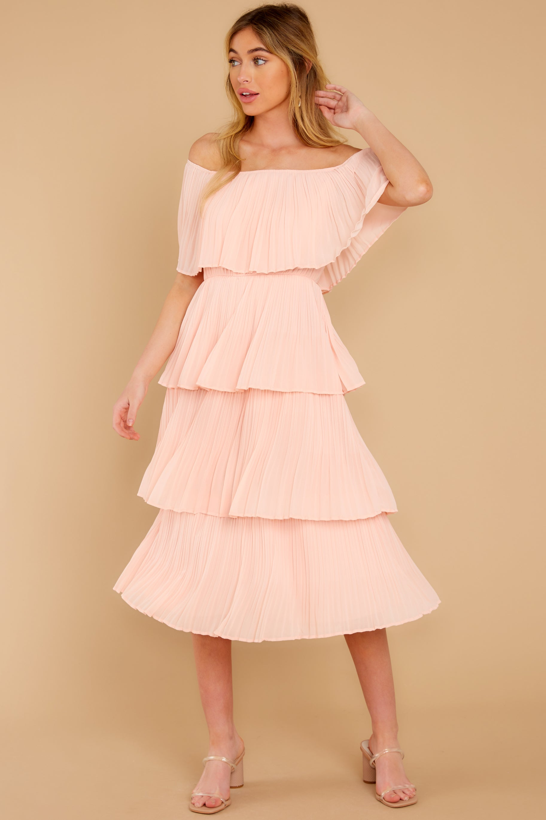 6 See It Happen Blush Pink Midi Dress at reddress.com
