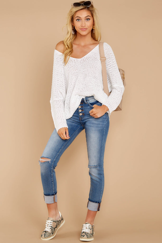 893ad4ca17 In The Knit Of Time White Sweater