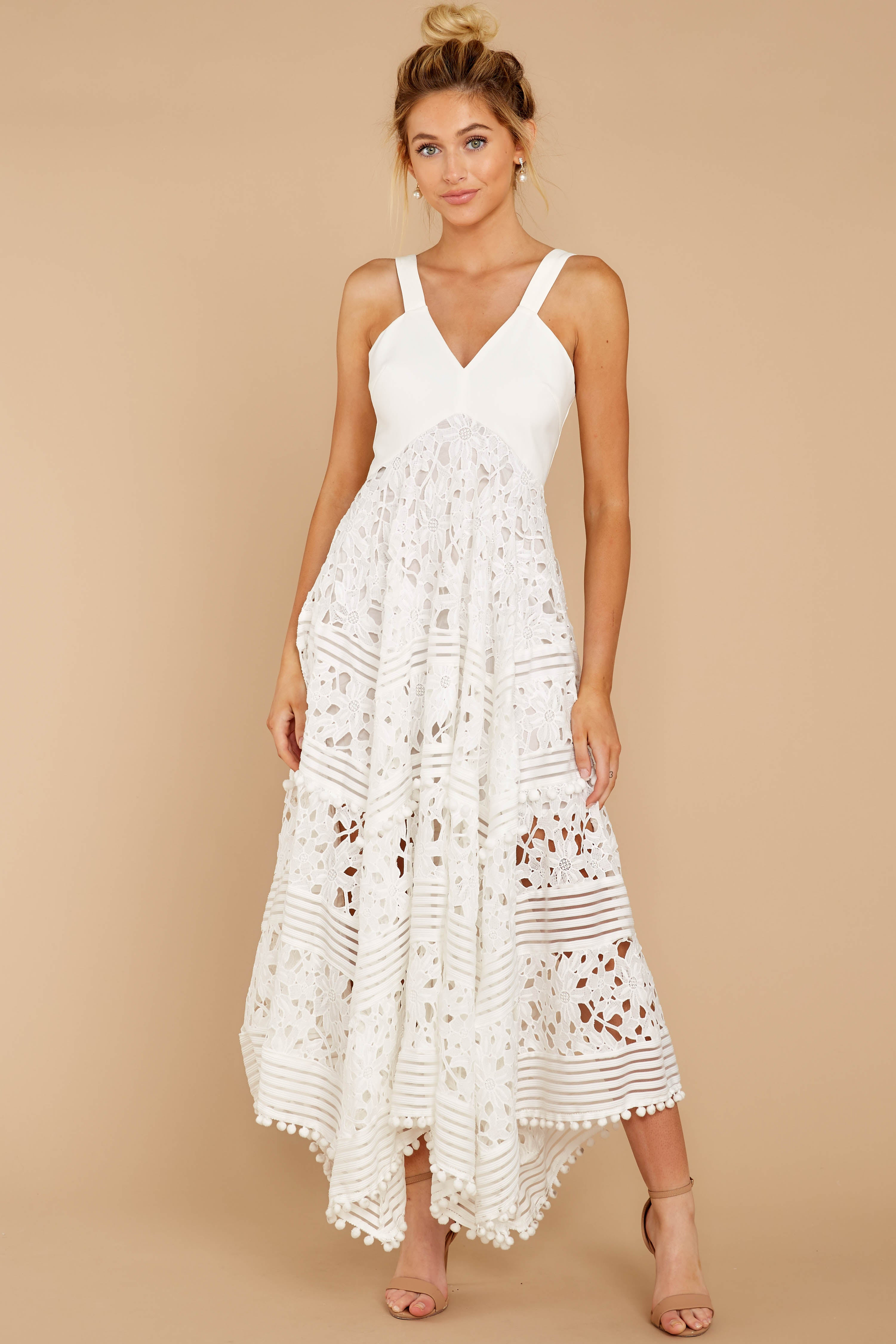 5 Above And Beyond White Maxi Dress at reddressboutique.com