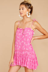4 Wishing For More Fuchsia Pink Print Dress at reddressboutique.com