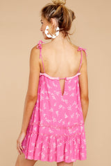 7 Wishing For More Fuchsia Pink Print Dress at reddressboutique.com
