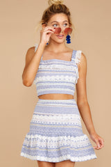 6 Jetty Ready Blue Print Two Piece Set at reddressboutique.com