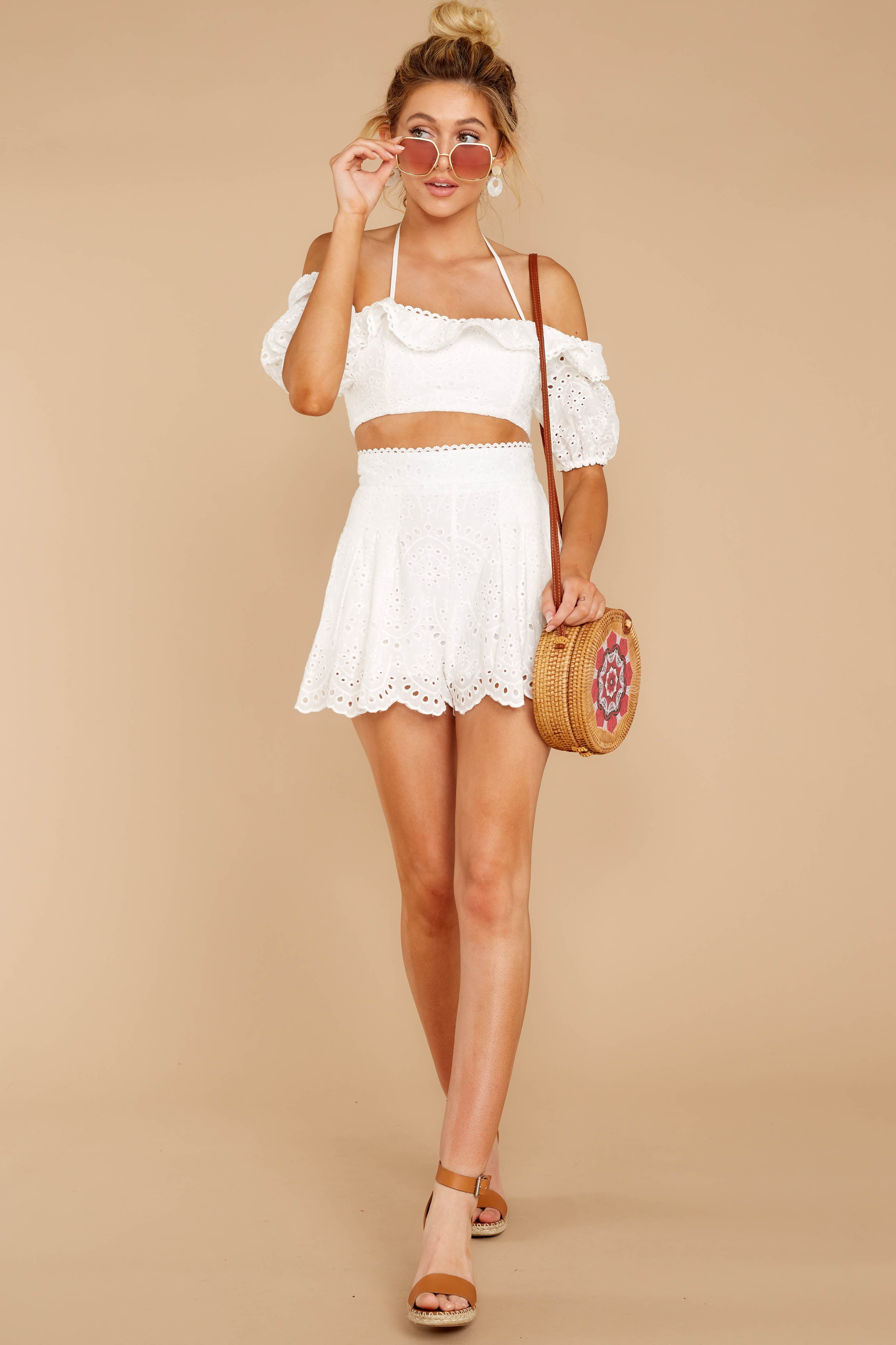 2 You'll Always Have Summer White Eyelet Two Piece Set at reddressboutique.com