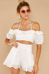 4 You'll Always Have Summer White Eyelet Two Piece Set at reddressboutique.com