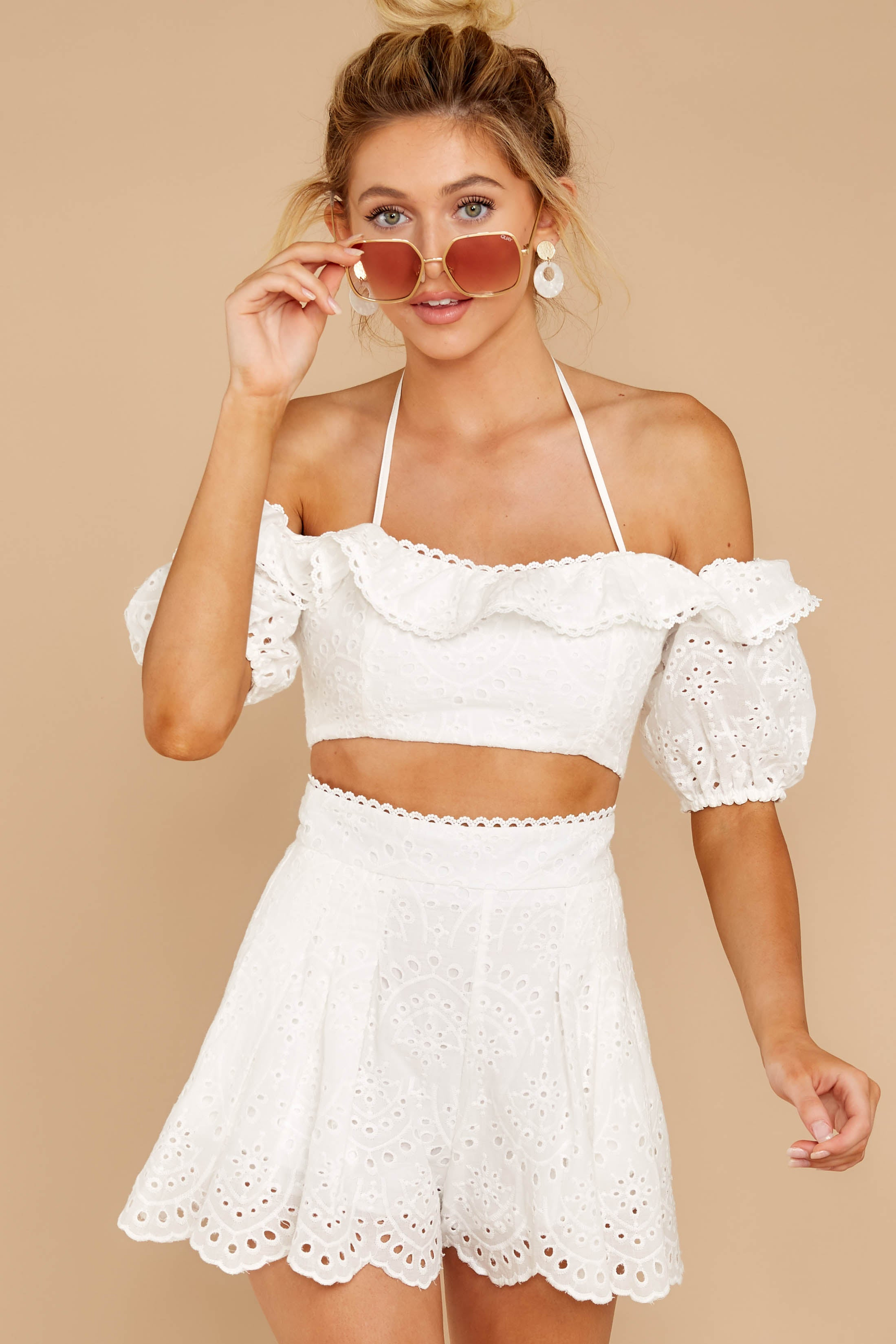 6 You'll Always Have Summer White Eyelet Two Piece Set at reddressboutique.com