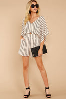 V-neck Swing-Skirt Striped Print Keyhole Darts Cutout Hidden Back Zipper Pocketed Pleated Romper