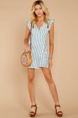 2 Into The Blue Light Blue Stripe Wrap Dress at reddressboutique.com