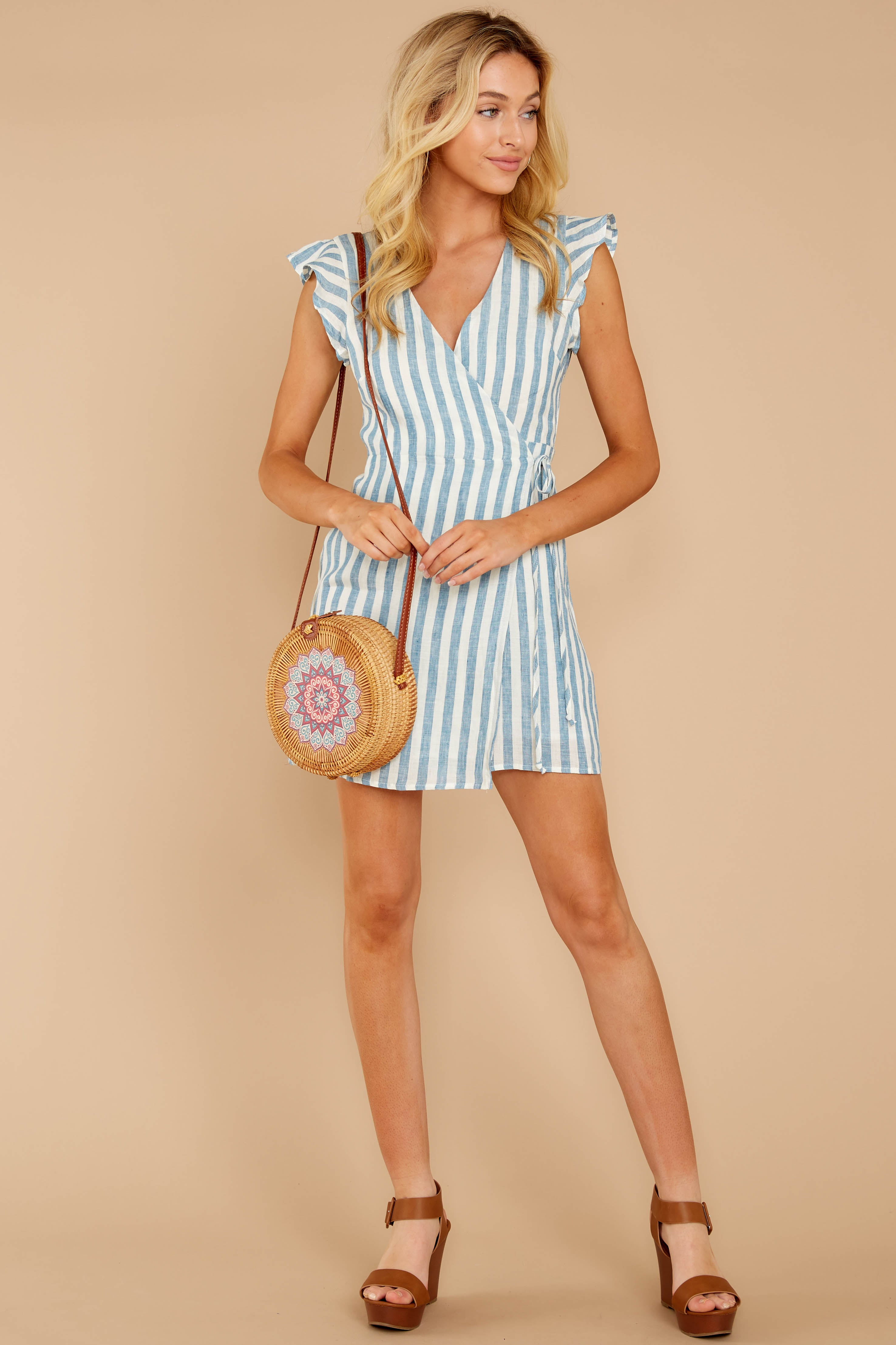 3 Into The Blue Light Blue Stripe Wrap Dress at reddressboutique.com