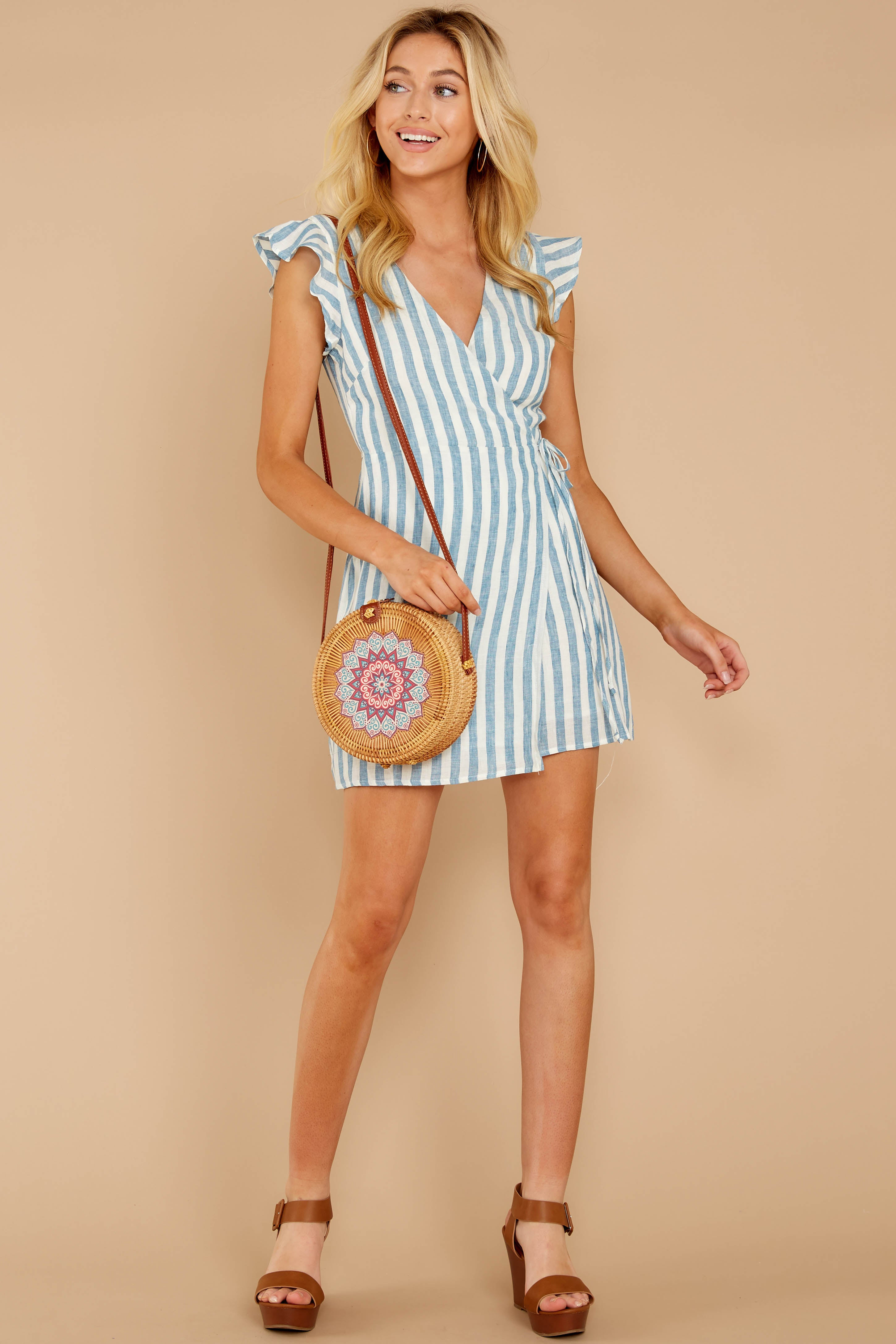1 Into The Blue Light Blue Stripe Wrap Dress at reddressboutique.com