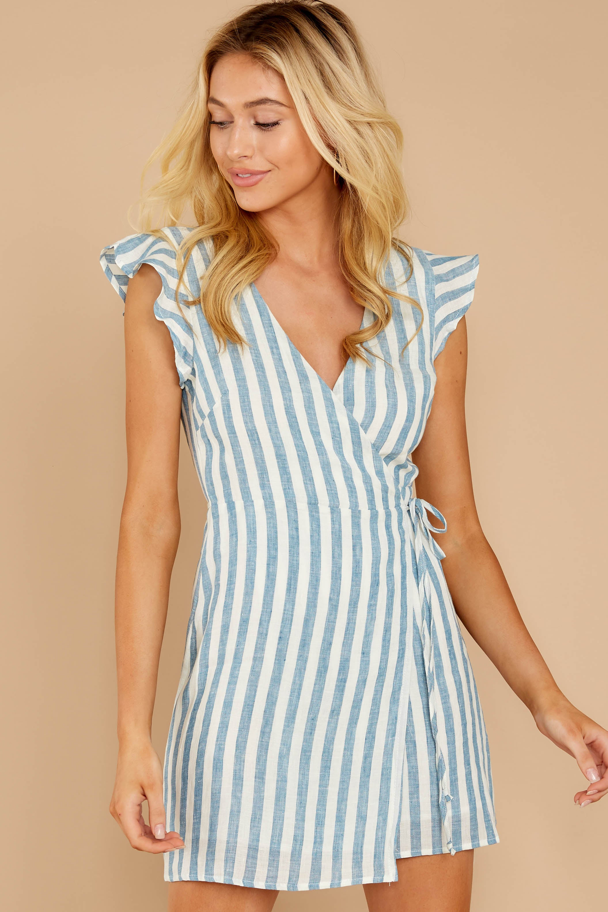 4 Into The Blue Light Blue Stripe Wrap Dress at reddressboutique.com