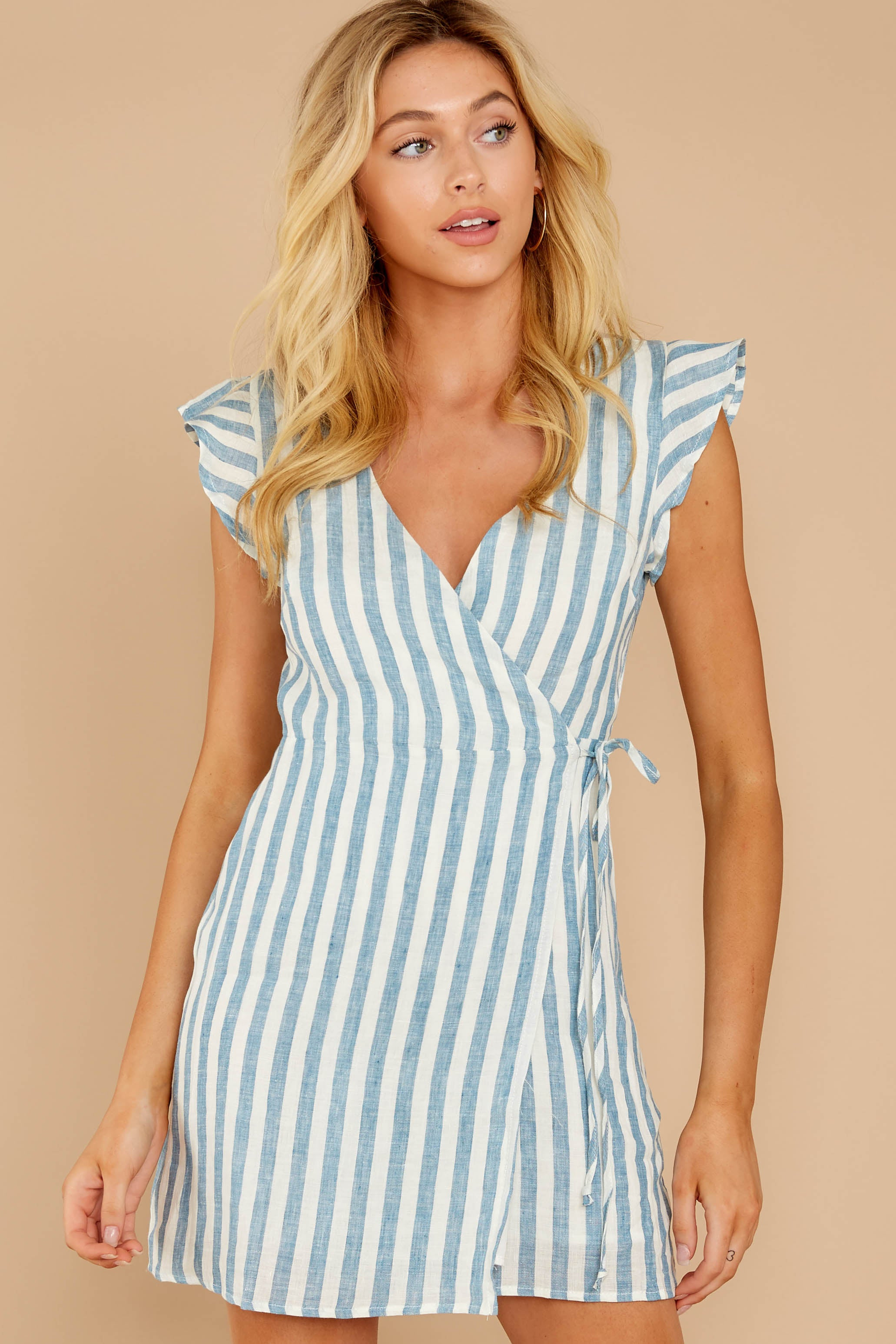 5 Into The Blue Light Blue Stripe Wrap Dress at reddressboutique.com