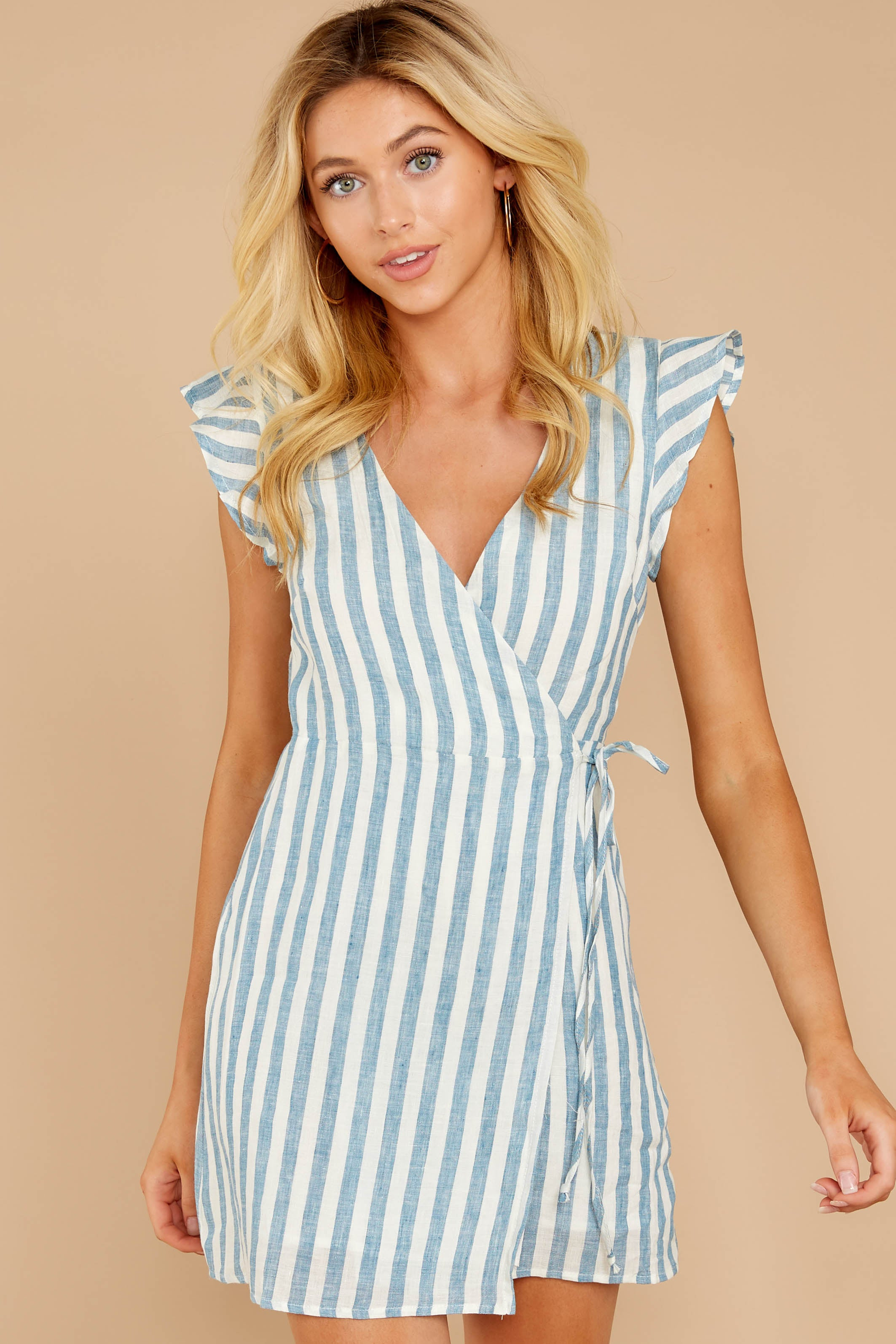 6 Into The Blue Light Blue Stripe Wrap Dress at reddressboutique.com