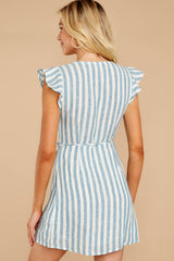 7 Into The Blue Light Blue Stripe Wrap Dress at reddressboutique.com