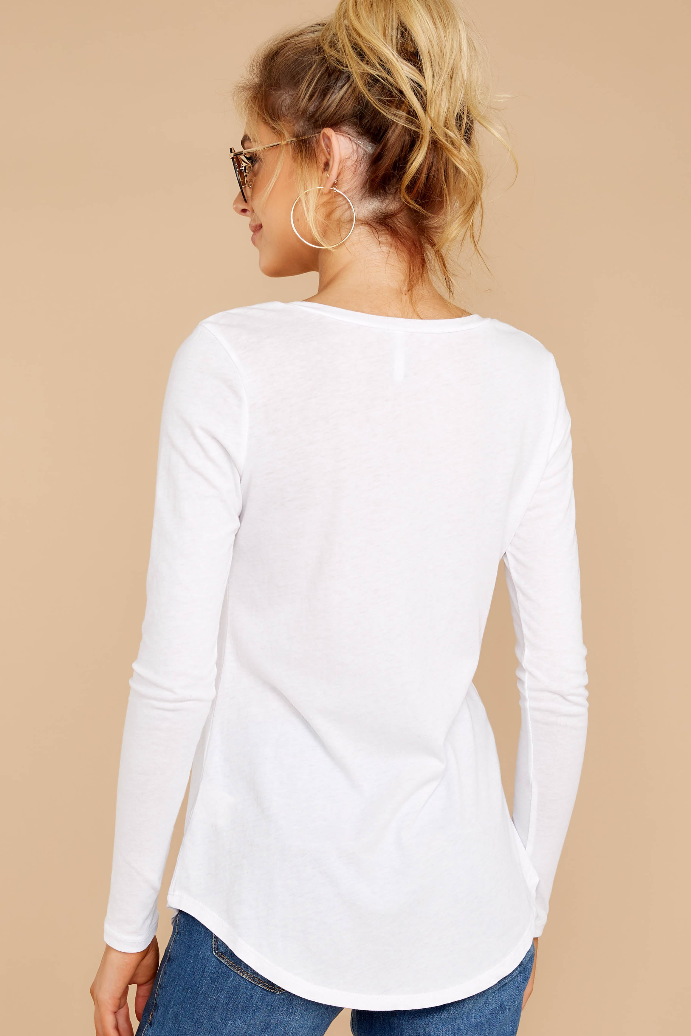 The White Long Sleeve Pocket Tee
