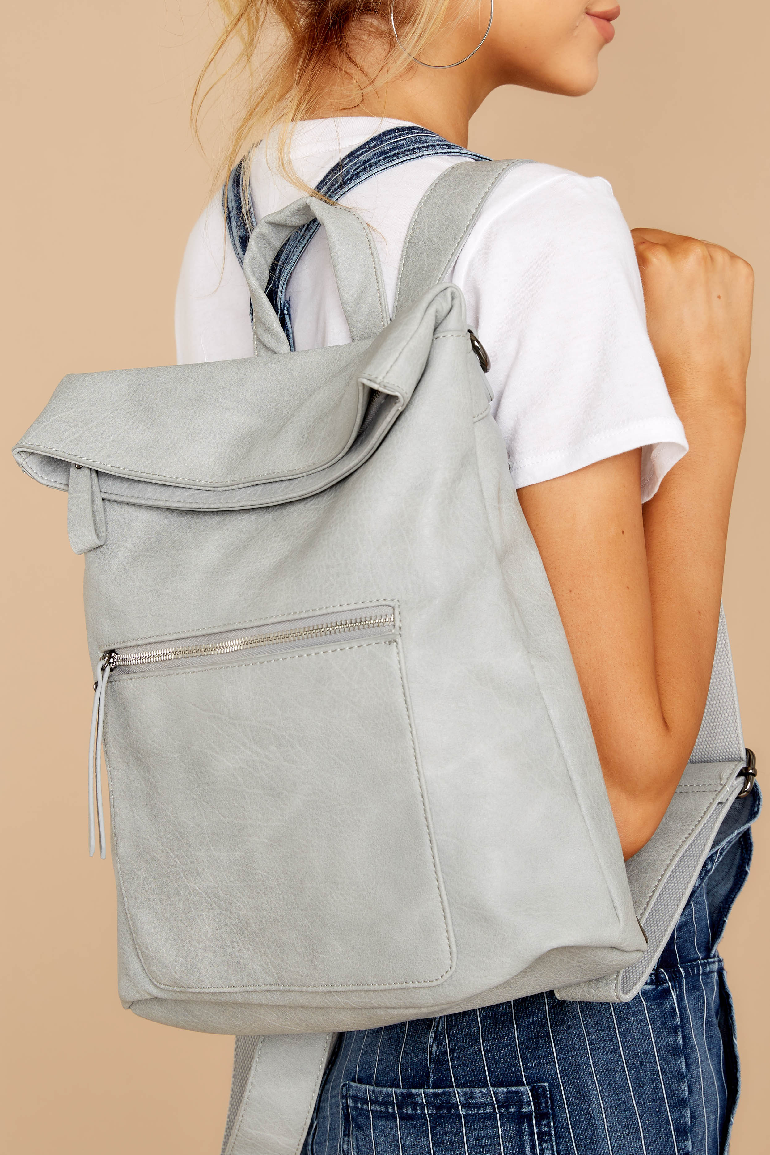 Do What You Please Light Grey Vegan Leather Backpack