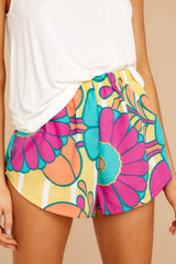 Lively Dialogue Yellow Multi Floral Print Pajama Shorts
