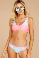 4 Over The Weekend Pastel Rainbow Bikini Top at reddressboutique.com