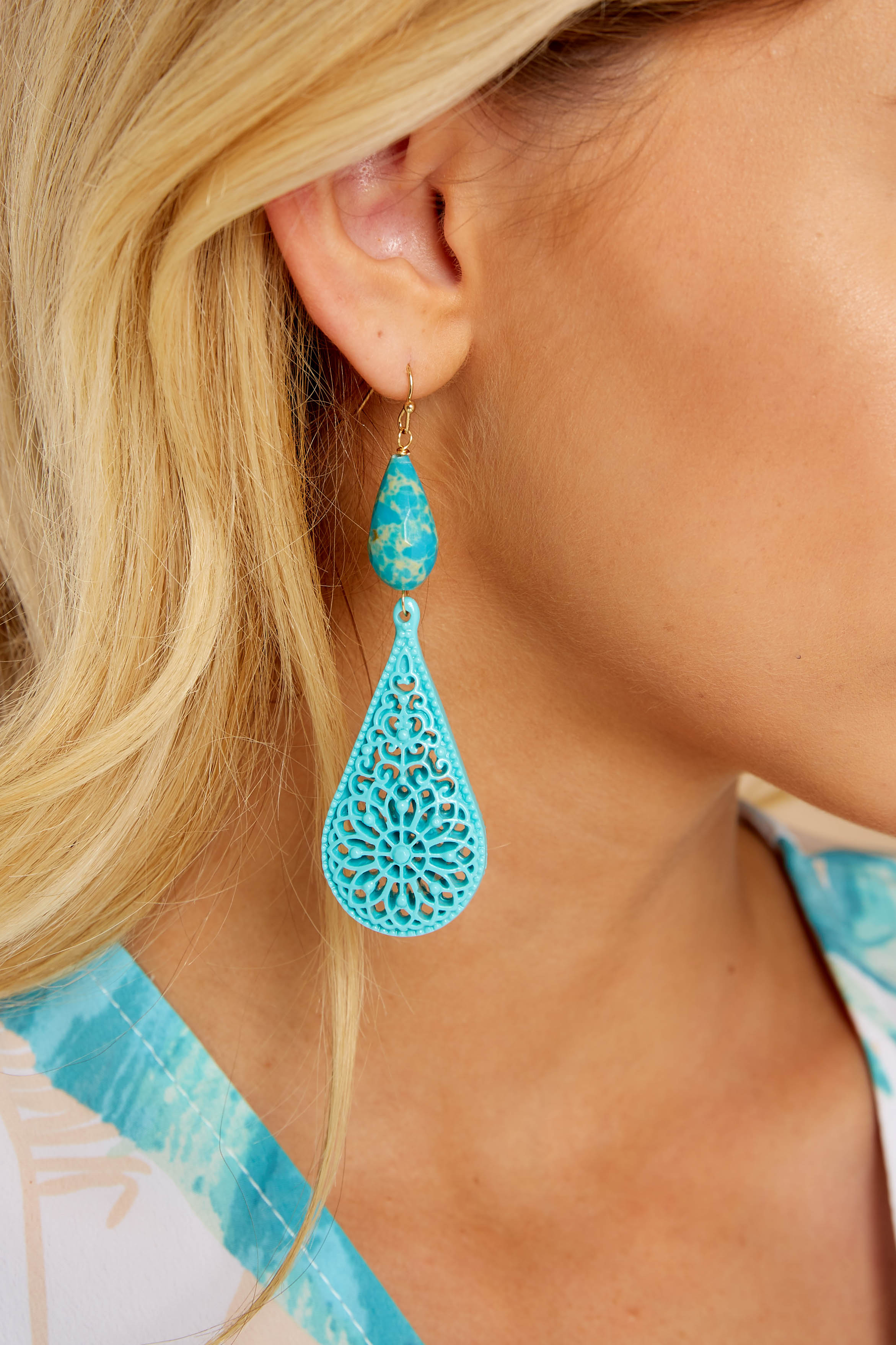 Waiting On Perfection Turquoise Earrings