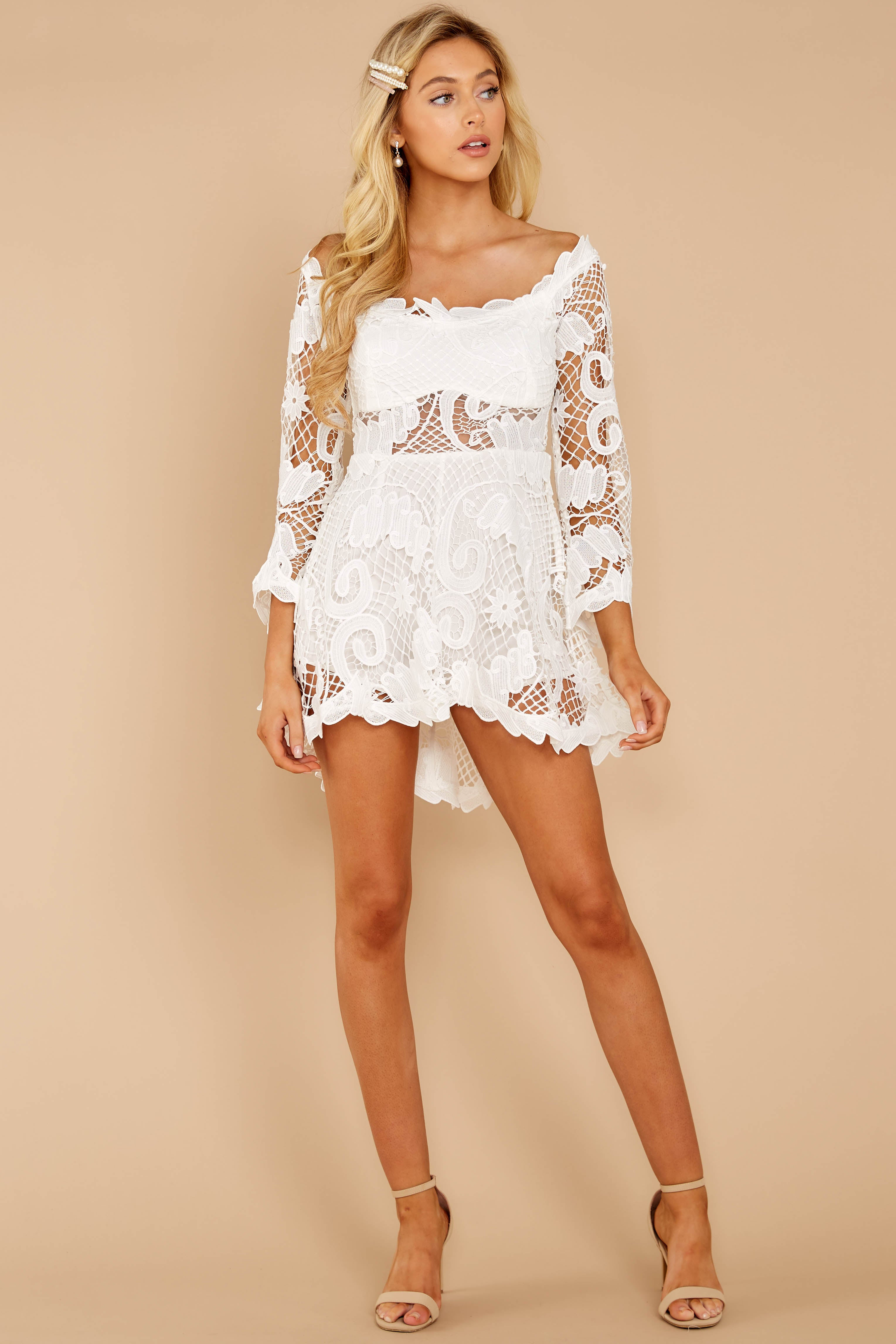 2 Angelic Allusion White Lace Romper at reddressboutique.com