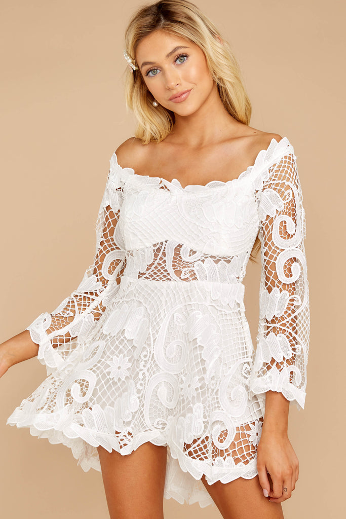 1 Break A Million Hearts White Lace Dress at reddressboutique.com