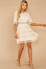 3 Poetic Situation Beige Lace Dress at reddressboutique.com