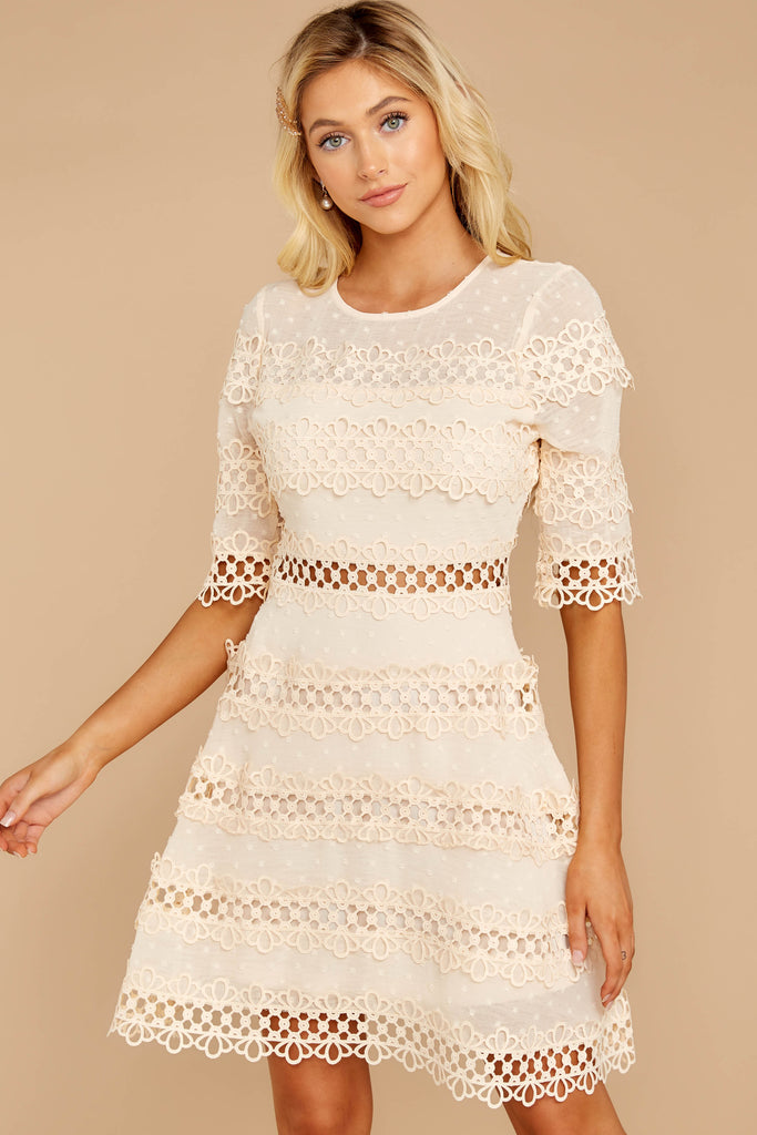 1 All Dressed Up Cream Lace Dress at reddressboutique.com