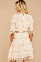 7 Poetic Situation Beige Lace Dress at reddressboutique.com