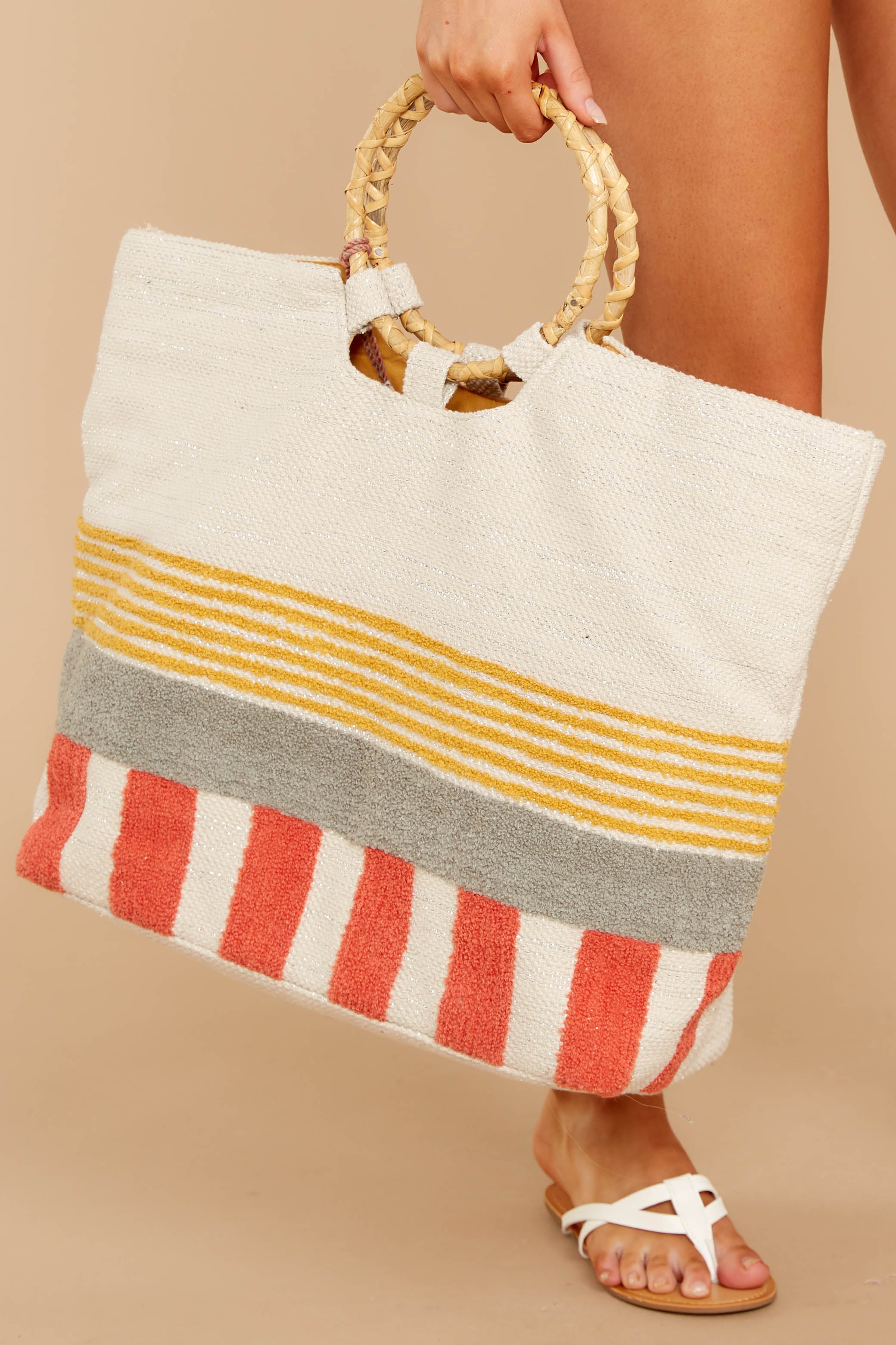 2 Needing This More Yellow Multi Stripe Bag at reddressboutique.com