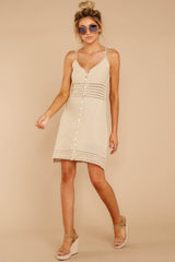 6 Storied Romance Beige Crochet Dress at reddressboutique.com